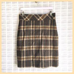 LL Bean Wool Skirt Brown and Tan Plaid Knee